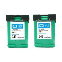 2Pcs Compatible Ink Cartridges For HP 343 For HP Deskjet 6540/6620/6840/PSC 1500/1510/1600/1610 Printer 2pcs compatible hp 56 black 57 colour ink cartridges for psc2115 psc2171 psc2175 psc2179 psc2210 new c6656ae c6657ae