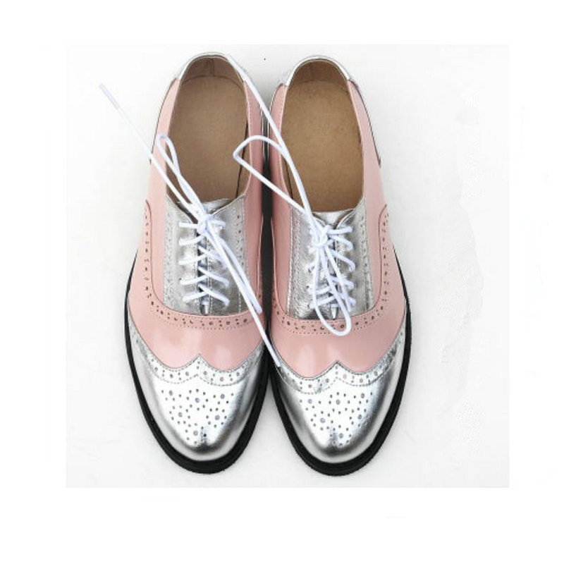 Vintage oxford shoes for women flat shoes Plus Size Woman Genuine Leather woman shoes Brogues oxford