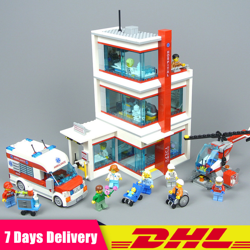Compatible Legoinglys 60204 Lepin 02113 943Pcs City Hospital Sets Ambulance Helipad Building Blocks Bricks Model Kits Toys