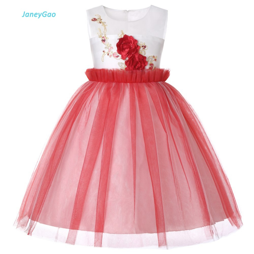 JaneyGao Flower Girl Dresses For Wedding Party Girls Formal Tulle Pageant Dress With Appliques Stylish Birthday Party Gown 2019