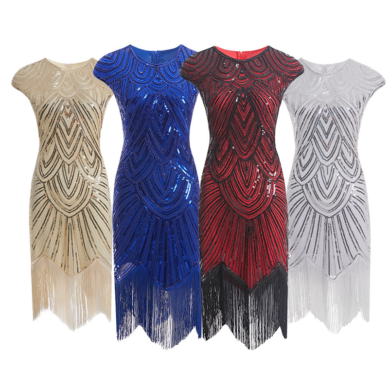 Women 1920s Flapper Dress Vintage O-Neck Butterfly Sleeve Long Great Gatsby Dress Embellished Beaded Sequin Dress Robe XS-2XL