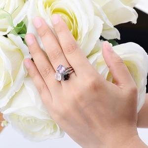 Image 2 - Fantasia feminina de ametista natural, anel de casamento, de quartzo, esfumado, liso, prata esterlina 925, joias elegantes para mulheres