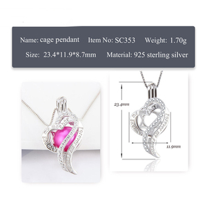 Image 2 - CLUCI 3pcs Silver 925 Heart Pearl Pendant Locket for Women Necklace 925 Sterling Silver Zircon Pendant Mothers Day Gift SC353SB