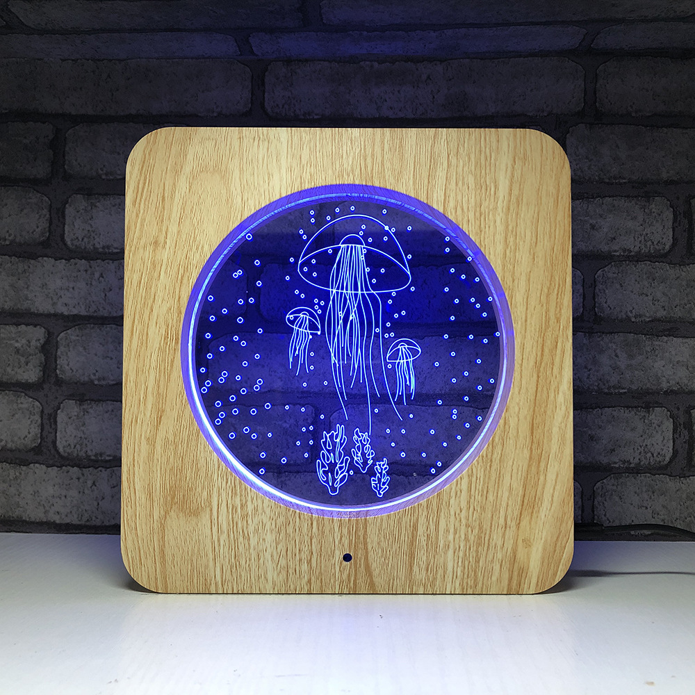 7 Color Changing 3D LED Table Light Jellyfish Night Light Wood Grain Lamp Touch Switch Lighting For Children Bedroom Decor