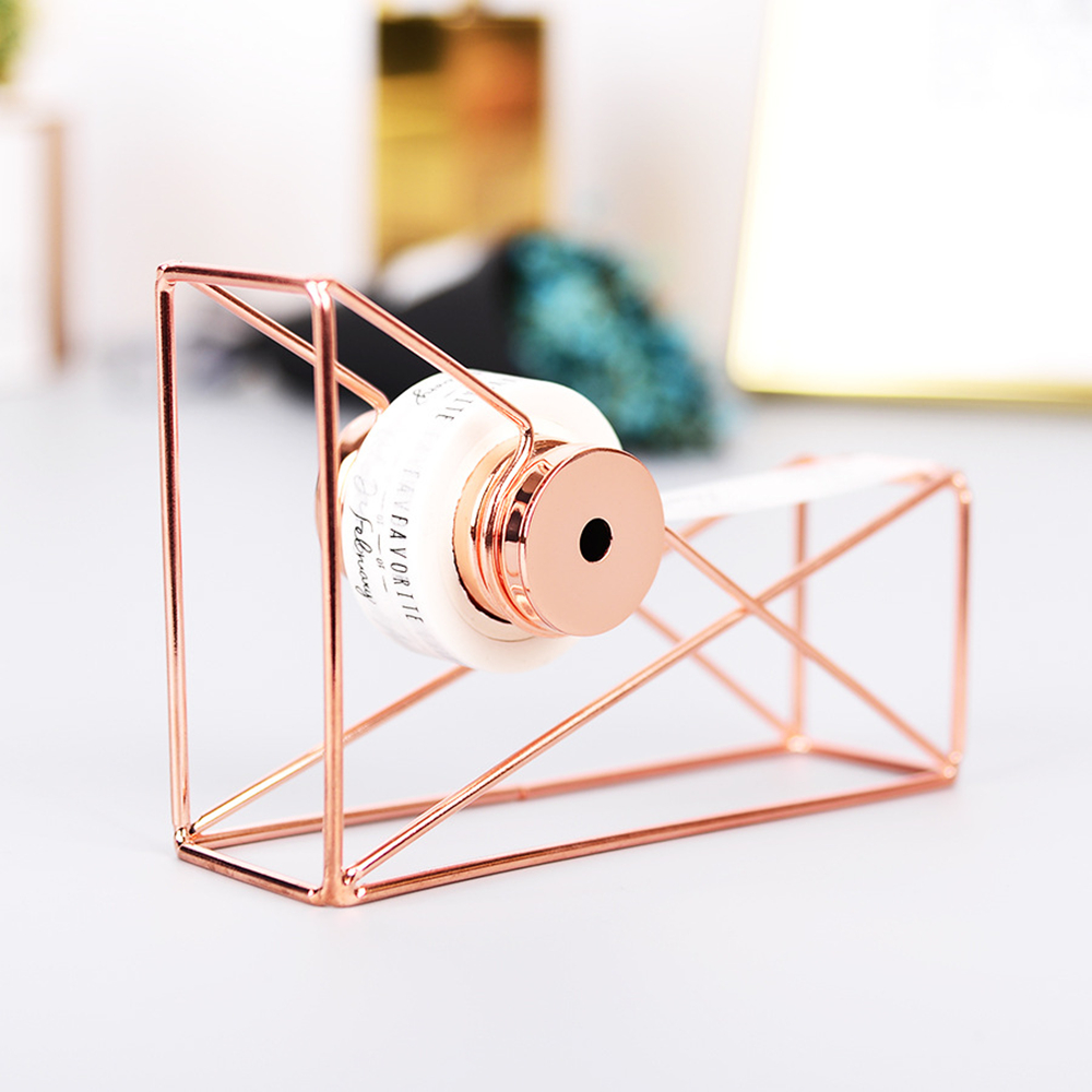 Rose Gold Desktop Tape Dispenser Wire Metal Tape Holder for 1 Inch Core Brighten Up Your Office Desk Top Accessories Supplies