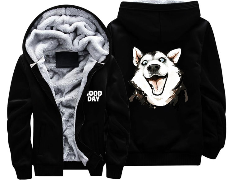 US $39 99 |Fashion Men women cute lovely funny pugs dog face GOOD DAY Thick  Coat Jacket winter warm Hoodie velvet Sweatshirt top Hoodies-in Hoodies &