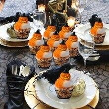 12pcs Halloween Hollow Paper Cup Spider Web Pumpkin Horror Castle Cake Wailing Decorations