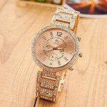 Hot High Quality Women Dress Watches Fashion Diamante Gold Band Top Luxury Ladies Wristwatch Quartz Hand Clock