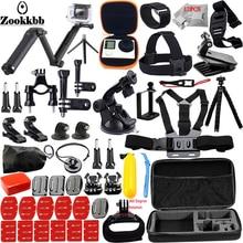 Zookkbb for gopro hero 5 4 3 2 accessories set for go proThree way selfie stick EVA case for Eken h9r xiaomi yi 13J