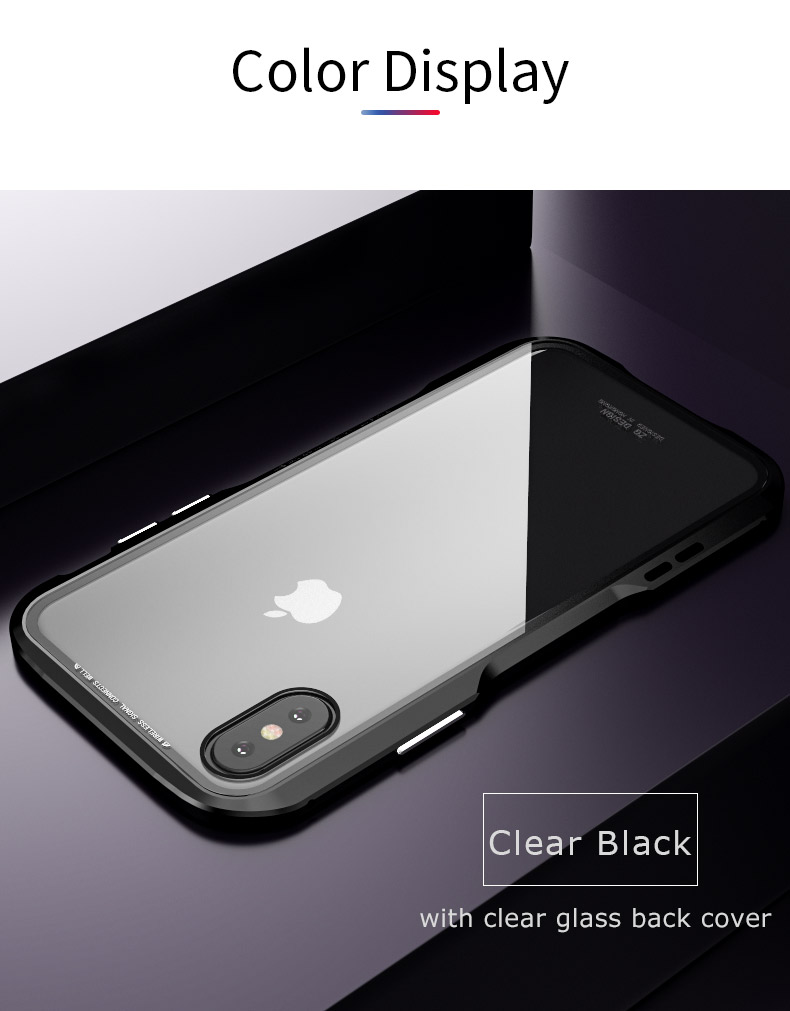 For iPhone X Magnetic Adsorption Cases Shockproof Metal Bumper (8)