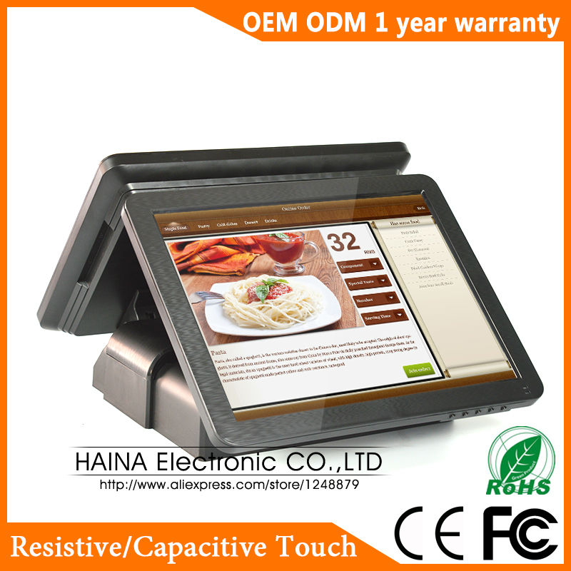 Image 3 - Haina Touch 15 inch Dual Screen Touch Screen NFC POS Terminal Dual Screen-in Desktops from Computer & Office