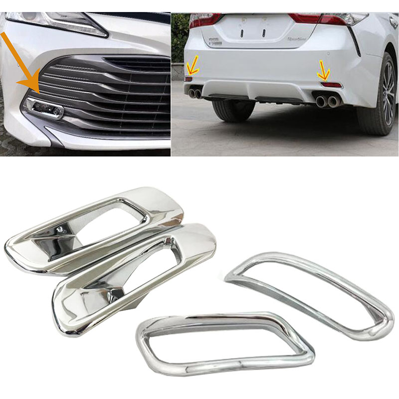 ABS Chrome Rear Tail Fog Light Lamp Covers Trim For Toyota Camry XV70 2017 2018