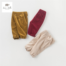 DB3634 dave bella autumn baby girls bow pants girls trousers 100%cotton children pants kids pants infant clothes toddle trousers