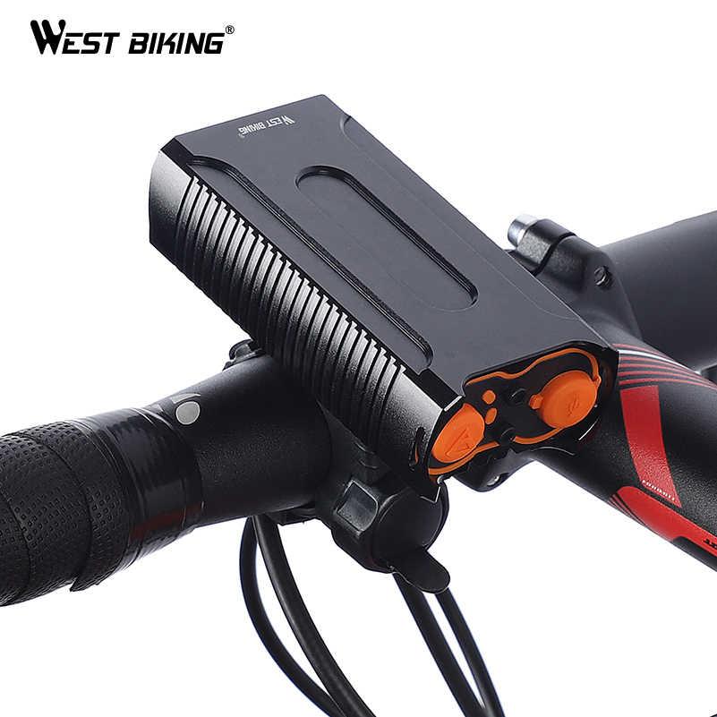 WEST BIKING водонепроницаемые велосипедные огни MAX 2400LM зарядка через usb 2 T6 светодиодный фонарик для езды на велосипеде для передней фары автомобиля + бесплатная задний фонарь свет
