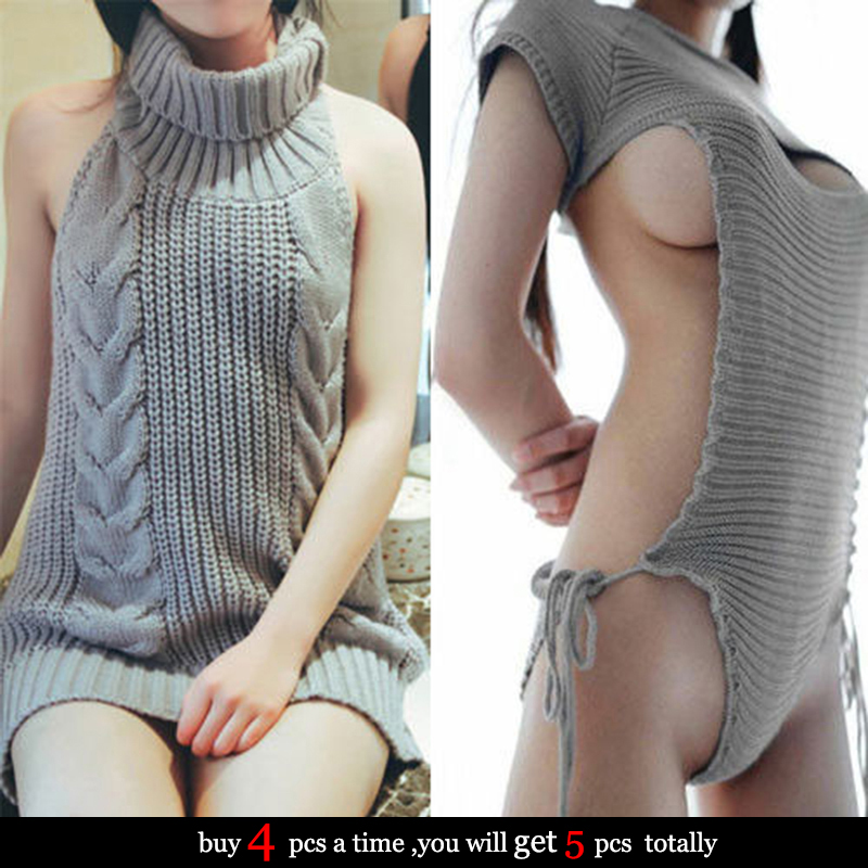 Japanese Moe Girls Virgin Killing Backless Sweater Sexy Erotic Cosplay Costume Roleplay Party Adult Women Men