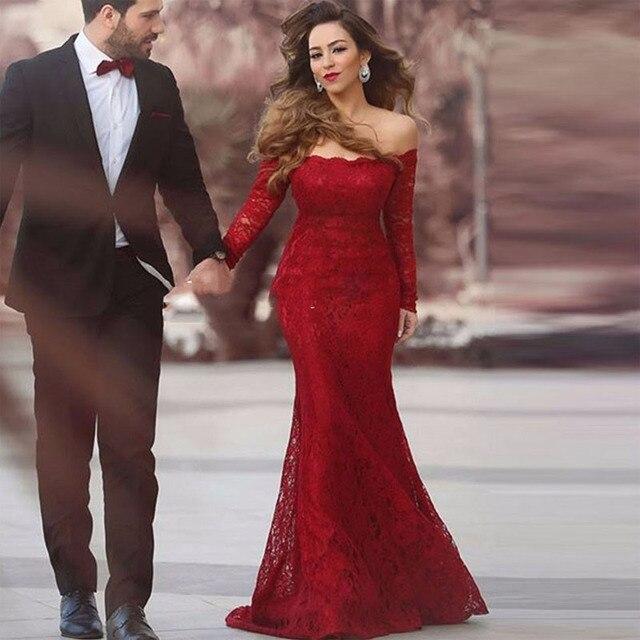 99f933e86e4a € 106.0  Gorgeous Borgoña Sirena Barco Cuello de Encaje Vestidos de novia  Vestido de Noche rojo largo Barrer de Tren Vestido Formal de Los Vestidos  de ...