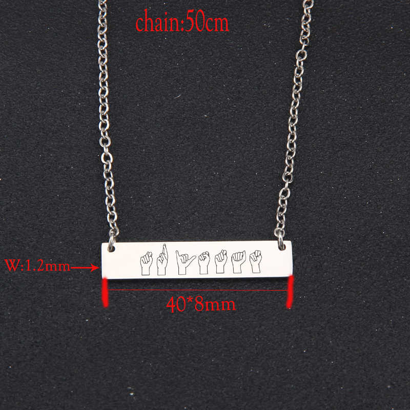 Stick Figure Sign Language Clavicular Chain Unisex Gift New Fashion Bar Necklace Charm Holder Trendy Pendant Necklace