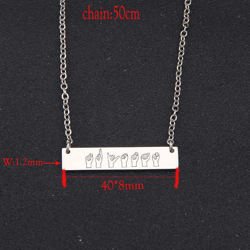 מקל דמות סימן שפה Clavicular שרשרת יוניסקס מתנה חדשה אופנה בר שרשרת קסם מחזיק טרנדי תליון שרשרת