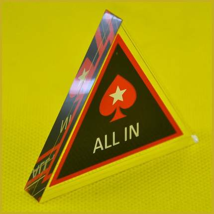 Free shipping NEW 1pc Crystal ALL IN Pokerstar Acrylic Triangle ALL IN Button Poker Cards Guard