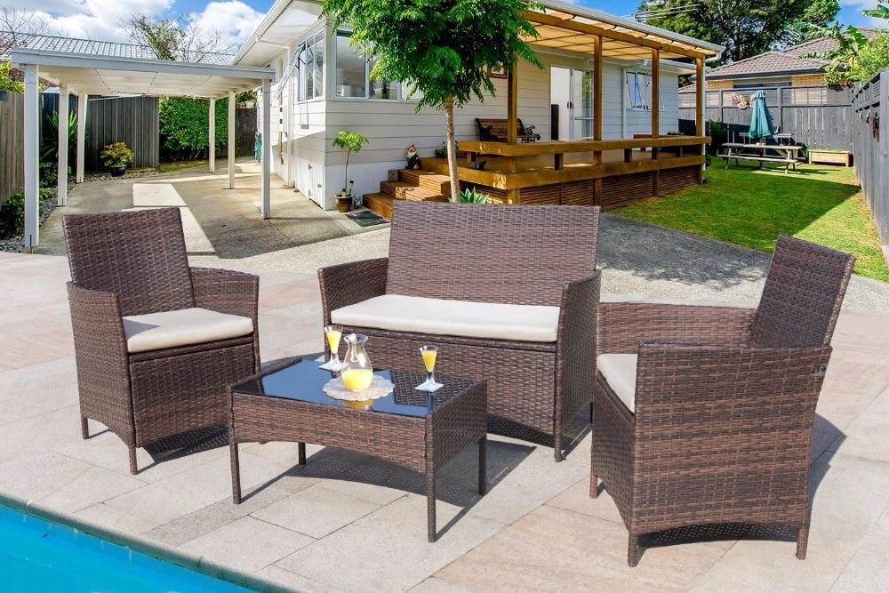 Homall 4 PCS Outdoor Patio Furniture Set Rattan Chair