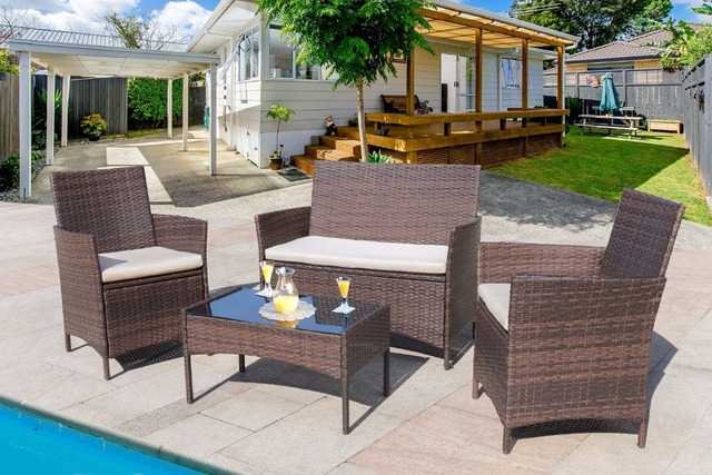 Homall 4 Pcs Outdoor Patio Furniture Set Rattan Chair Wicker Set