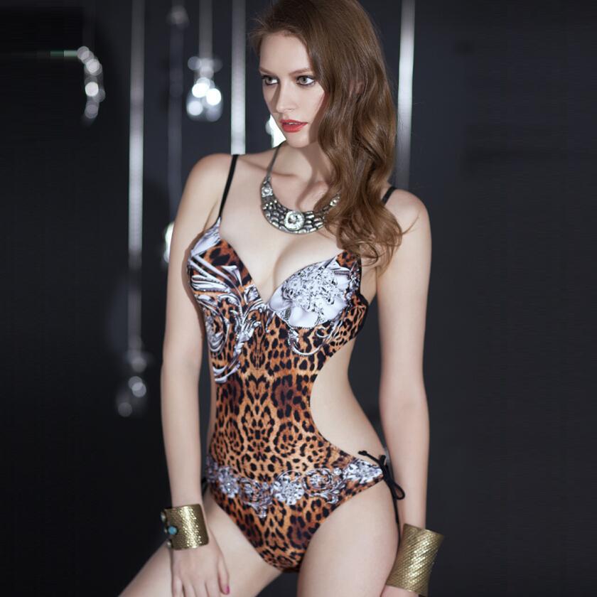 2018, сексуальный купальник, женский, сдельный купальник, Леопардовый, с высокой талией, с открытой спиной, монокини, купальник с принтом, купальники, Бразильская пляжная одежда - 5