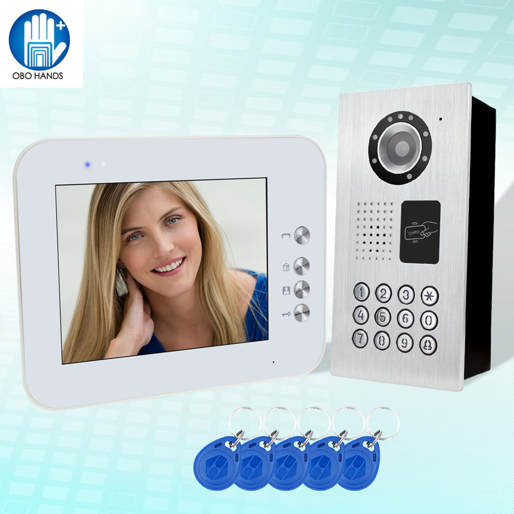 New wired 8'' TFT-LCD color RFID video intercom door phone entry system 1 monitor+1 IR password camera video doorbell for home 1v4 home security 7inch tft lcd monitor video door phone intercom doorbell night vision with rfid card password unlock camera
