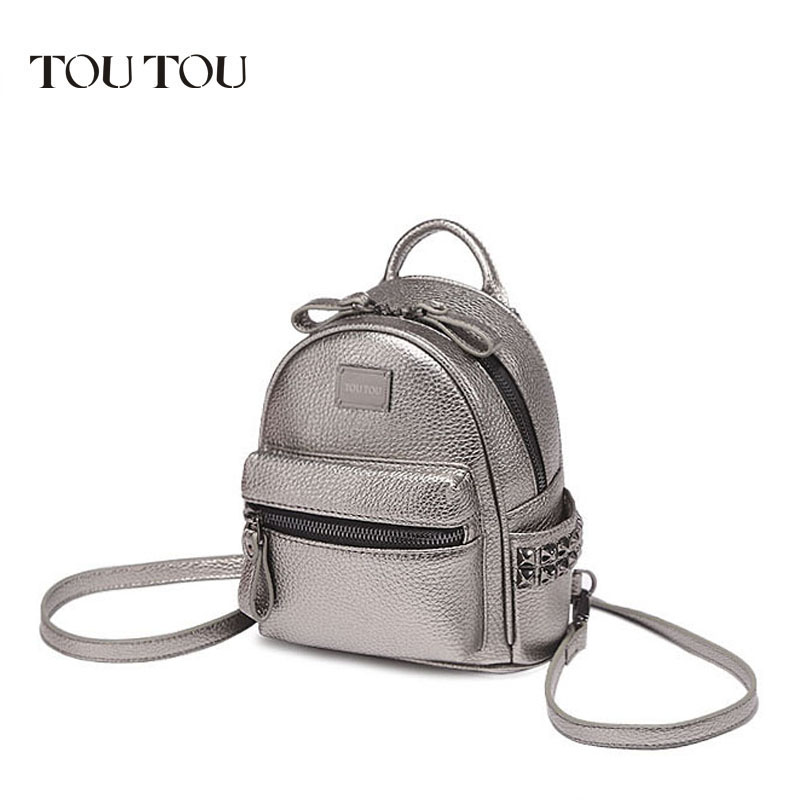 A1601 TOUTOU brand designer Mini rivet backpack pu leather backpack female Small bags famale college schoolbag sac de marque цена