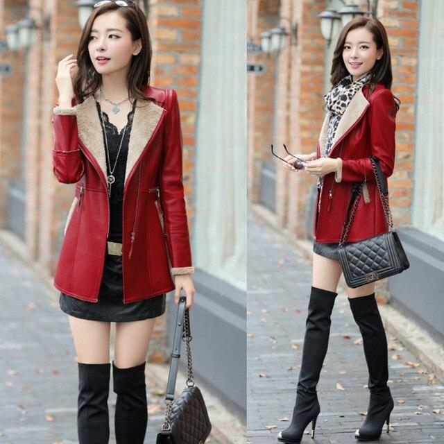 In The invierno De 2015 nuevas mujeres De la moda en el largo y delgado Cashmere Coat Jacket Women Jaqueta De Couro Feminina