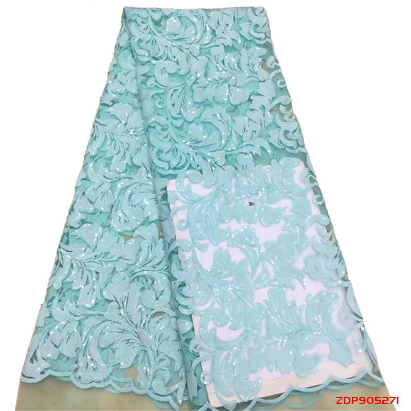 Dernier style européen bleu clair avec des paillettes de couleur bleue et des perles robe tissu en gros nigéria Tulle dentelle tissu