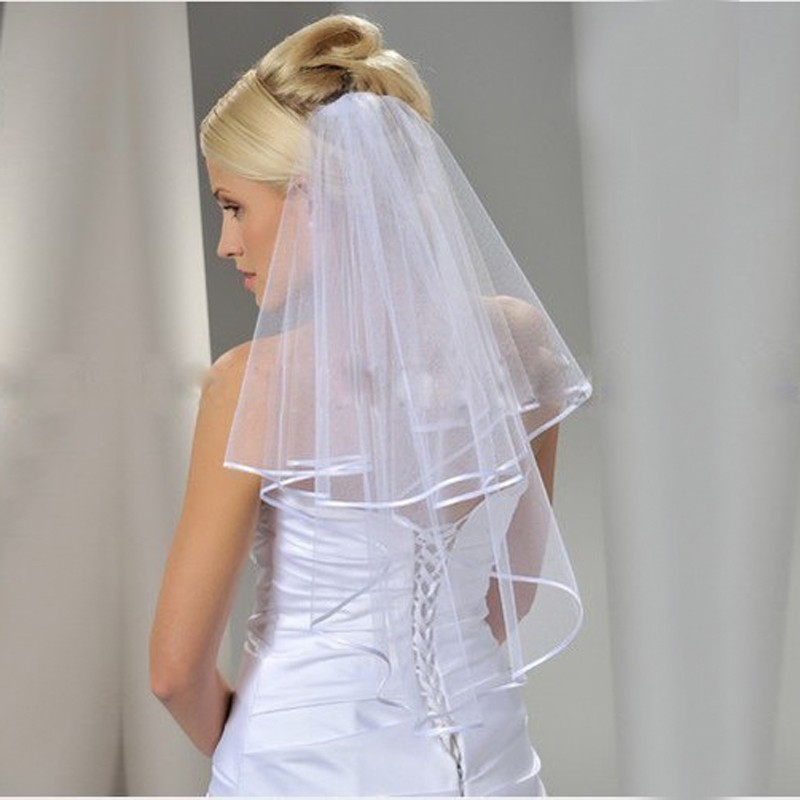 2018 New Two Layers Ribbon Edge Short Wedding Veil With Comb White 2 Layers Bridal Veil Wedding Accessories