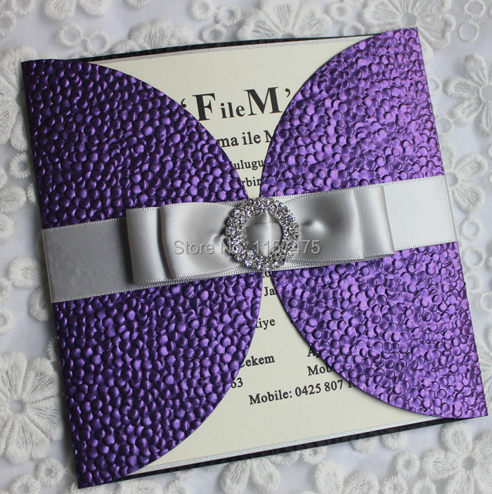 HI7006 31 Excellent Dark Purple Wedding Invitation Card With Ribbon And Brooch Embellishment