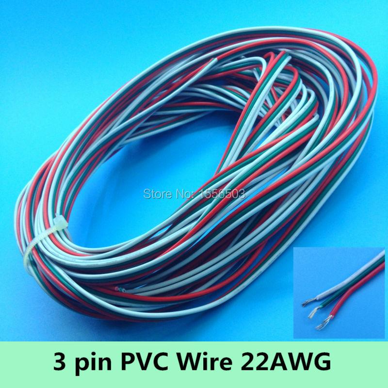 3 pin Weiß Grün Rot Kabel Pvc-isolierte Kabel 22AWG Extention kabel ...