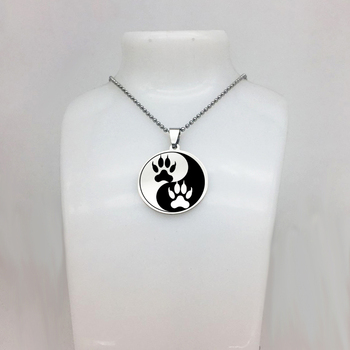 New Arrival High Quality Stainless Steel Jewelry Disc Pendant Yin Yang Tiger Paw Necklace Dropshipping YP6708
