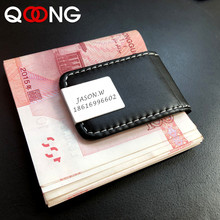 QOONG 2019 Laser Customization High Quality Leather Money Clip Purse Men Strong Magnetic Black for Holder ML1-001