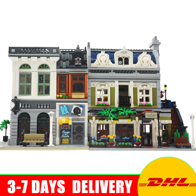 2018 LEPIN 15001 Brick Bank+15010 Parisian Restaurant Model Building Kits Blocks Bricks Toys For Children Gift 10251 10243 dhl new 2418pcs lepin 15010 city street parisian restaurant model building blocks bricks intelligence toys compatible with 10243