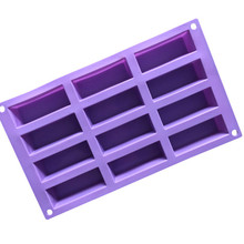 12 rectangular handmade soap mold, small square soap, silica gel cold soap mold, silica gel, chocolate mold, baking.