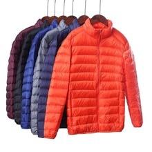 На осень-зиму ультра тонкий легкий пуховая куртка для мужчин со стоячим воротником белый пуховик размера плюс S-4XL