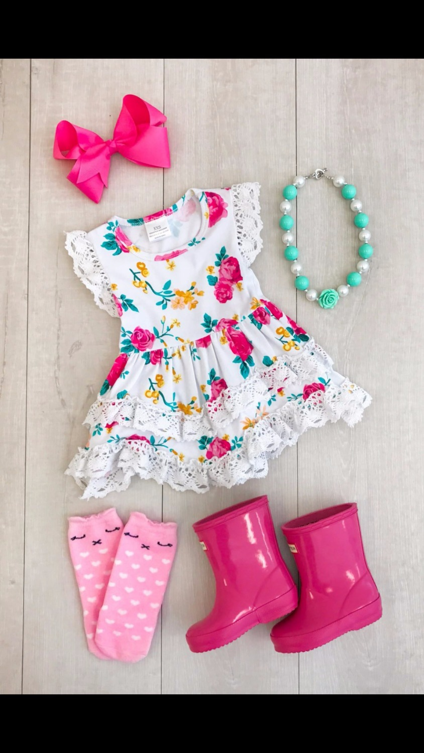 summer cotton design baby girls kids boutique clothes dress sets stiped floral ruffles with matching accessories necklace & bow 2016 summer baby child girls outfits ruffles shorts white striped watermelon boutique ruffles clothes kids matching headband set