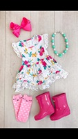 summer cotton design baby girls kids boutique clothes dress sets stiped floral ruffles with matching accessories necklace & bow