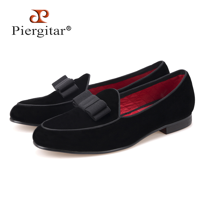 Piergitar new arrive Handmade Men velvet shoes with short Tongue and Bowtie Men party and wedding dress shoes Banquet loafers piergitar 2017 new black patent leather men handmade loafers with black bowtie fashion banquet and prom men dress shoes
