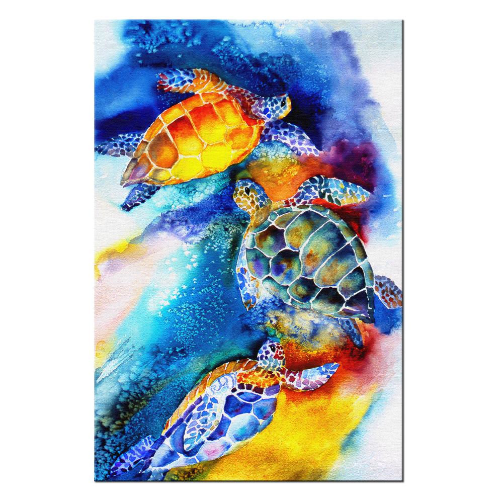Watercolor painting of sea turtles swimming wall art for bedroom contemporary home decor canvas print poster pictures in painting calligraphy from home