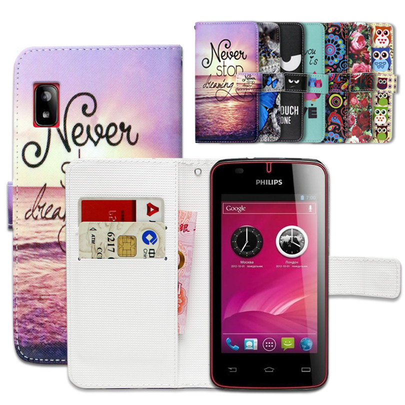 100% Special Luxury PU Leather Flip Cartoon wallet case Book case for Philips W536.gift