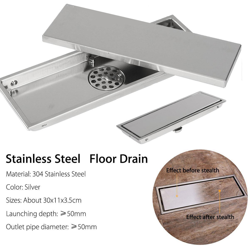 Stainless Steel Invisible Tile Floor Drain Waste kitchen Shower Drainer Bathroom Floor Drain for Bathroom Accessories brushed stainless steel long bathroom floor drain waste great shower drainer rectangle floor waste drainer pop up drain