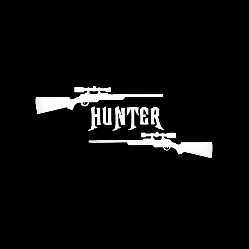 6cm15cm the hunter with two guns car stickers exterior accessories car styling decal sticker for car or motorcycle black silver in car stickers from