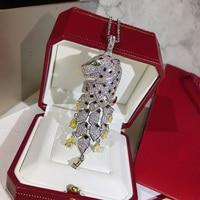 Luxury Brand Strong Statement Necklace Charms Leopard Pendant Tassel Yellow Zircon Crystal For Women Men Dubai High Fashion
