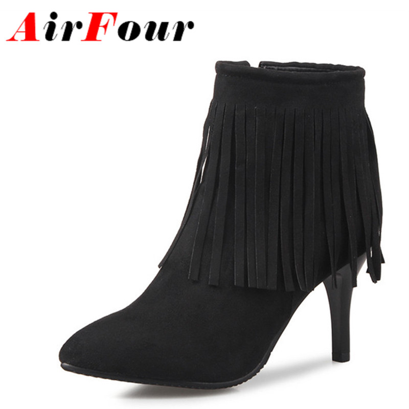 ФОТО Airfour Western Tassels Charms Shoes Woman Zippers Autumn&Winter Boots Large Size 34-46 Ankle Boot for Women Motorcycle Boots