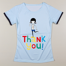 Summer Polyester Women Funny O-Neck T Shirts Short Sleeve Tee shirt Female Fashion Ladies Humor Thank You/Smile Print T Shirts
