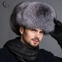 Hot high-end luxury fur hat Men's fox fur hat Lei Feng cap ear cap fur necessary hat Real fur hat 100% Sheepskin top fox hat