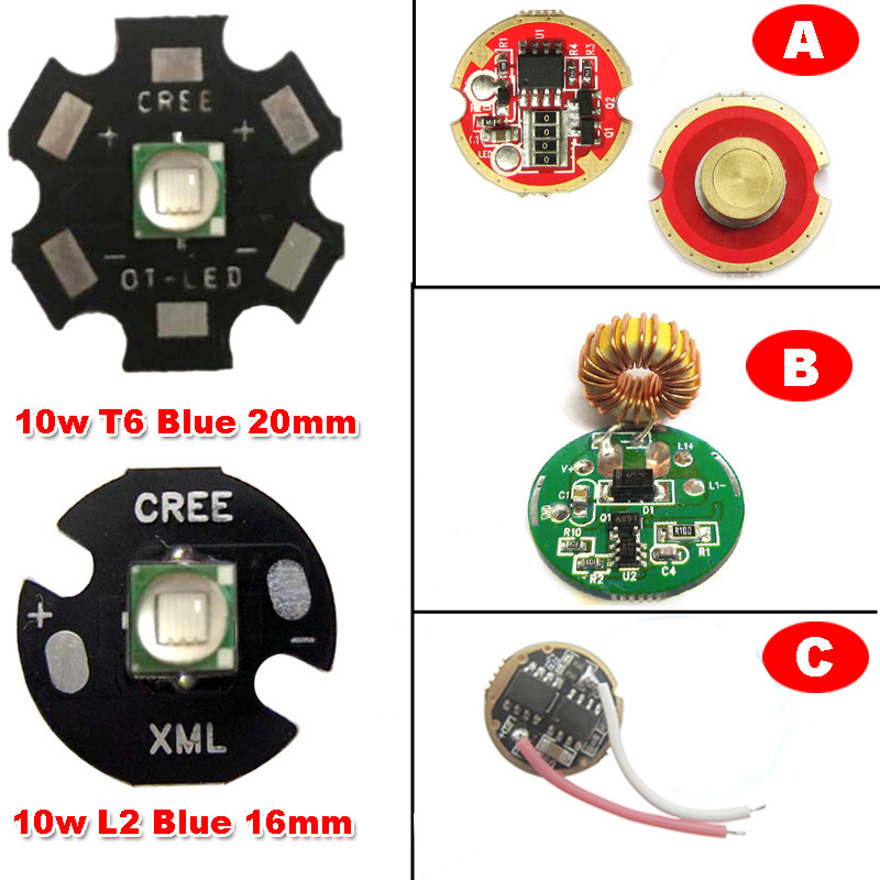 1ks Originální CREE 10W XML L2 modrá 460nm ~ 465nm LED svítilna část světla + 20mm / 16mm základna + 0/3/5 režim DC LED Driver